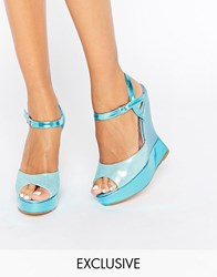 Terry De Havilland Electra Blue Glitter Wedge Sandals Baby Blue