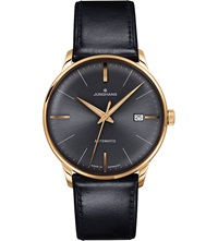 Junghans 027 7513.00 Meister Classic Leather And Gold Plated Watch Black