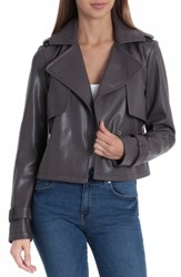 Bagatelle Faux Leather Moto Jacket Rhodium