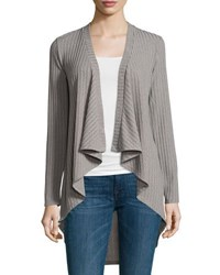 Neiman Marcus Ribbed Open Front Jacket Black