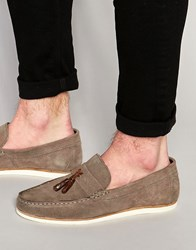 Asos Tassel Loafers In Grey Suede With White Sole Grey