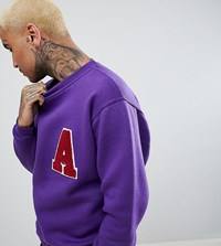 Reclaimed Vintage Inspired Sweatshirt With Collegiate Patch Purple