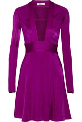 Issa Pheodora Leather Trimmed Jersey Dress Purple
