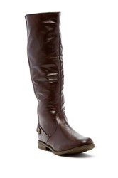 West Blvd Shoes Santiago Faux Leather Riding Boot Brown