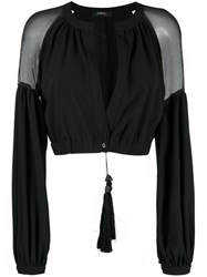 Wandering Sheer Panel Cropped Jacket Women Silk Polyester Spandex Elastane 44 Black