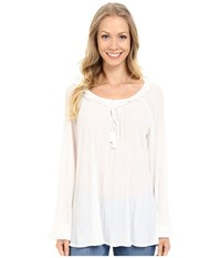 Adrianna Papell Long Sleeve Peasant Top Ivory Women's Blouse White