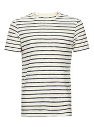 Selected Blue Homme Off White And Navy Stripe T Shirt