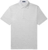 Peter Millar Excursionist Flex Space Dyed Stretch Cotton And Modal Blend Polo Shirt Gray