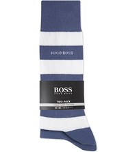 Hugo Boss Striped And Plain Cotton Socks Pack Of Two Blue White