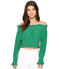 Norma Kamali Cropped Peasant Top Kelly Green Women's Clothing