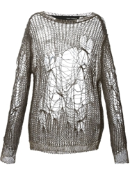Isabel Benenato Distressed Knit Sweater Grey
