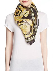 Versace Baroque Print Modal And Flax Shawl Scarf Black Gold