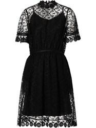 Burberry Floral Embroidered Tulle Dress Black