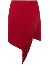 David Koma Asymmetric Fringed Skirt Red