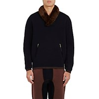 Kolor Men's Faux Fur Accented Sweatshirt Navy