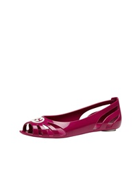 Gucci Youth Cutout Rubber Ballet Flat Fuchsia