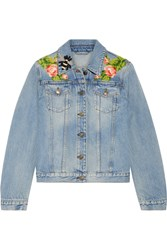 Gucci Appliqued Denim Jacket Light Denim