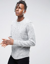 Asos Chunky Knit Jumper With Curved Hem Grey