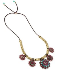 Betsey Johnson Gold Tone Woven Cord Multi Crystal Flower Statement Necklace