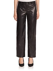 Helmut Lang Cropped Leather Pants Black