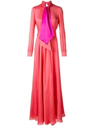 Lanvin Tied Neckline Maxi Dress Pink Purple
