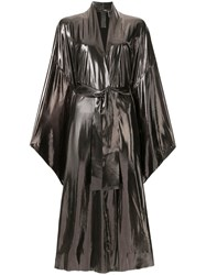 Norma Kamali Bow Tied Wrap Dress Silver