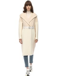 Sportmax Long Wool And Cashmere Flannel Coat Avory