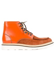 Dsquared2 Contrasting Panel Lace Up Boots Yellow And Orange