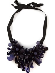 P.A.R.O.S.H. Flower Cluster Drop Ribbon Necklace Blue