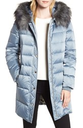 Kate Spade New York Down And Feather Faux Fur Trim Coat Dusty Blue