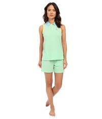 Lauren Ralph Lauren Color Block V Neck Henley Boxer Pajama Set Green Women's Pajama Sets