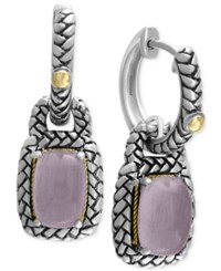 Effy Collection Serenity By Effy Rose Quartz Woven Style Drop Earrings 3 1 10 Ct. T.W. In Sterling Silver And 18K Gold