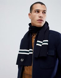 Fred Perry Merino Logo Wool Scarf In Navy