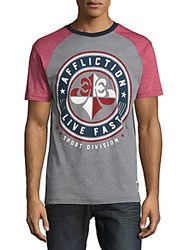 Affliction Rise Above Graphic Printed Tee Heather Grey Red