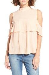 Women's Bp. Ruffle Cold Shoulder Top Coral Beach
