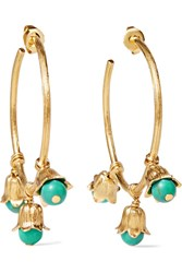 Aurelie Bidermann Lily Of The Valley Gold Plated Beaded Hoop Earrings One Size