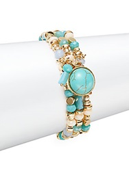 Cara Faux Turquoise And Mixed Bead Bracelet Gold Turquoise