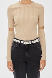 Topshop Cow Belt Beige