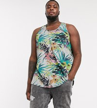 Soul Star Plus Printed Tropical Oversized Vest Grey