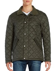 Cole Haan Stand Collar Quilted Jacket Olive