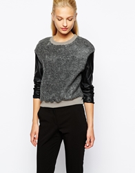 Mango Wool Pu Sleeve Sweat Top Grey