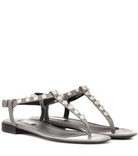 Balenciaga Arena Giant Stud Leather Sandals Grey