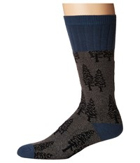 Socksmith Trees Charcoal Crew Cut Socks Shoes Gray