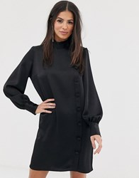 River Island Swing Dress With Asymmetric Buttons In Black