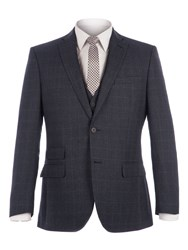 Racing Green Men's Fratton Navy Charcoal Jaspe Check Jacket Navy