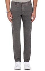 Incotex Men's Slacks Slim Fit Stretch Cotton Trousers Grey