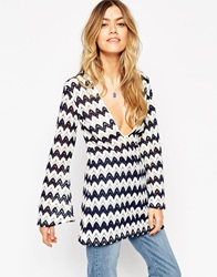 Asos Long Sleeve Tunic With Textured Zig Zag Stripe Multi