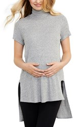 Maternal America Women's Turtleneck High Low Maternity Top
