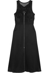 Alexander Wang Mesh And Lace Paneled Silk Satin Dress Black
