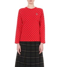 Chocoolate Polka Dot Patterned Cotton Jersey Top Red